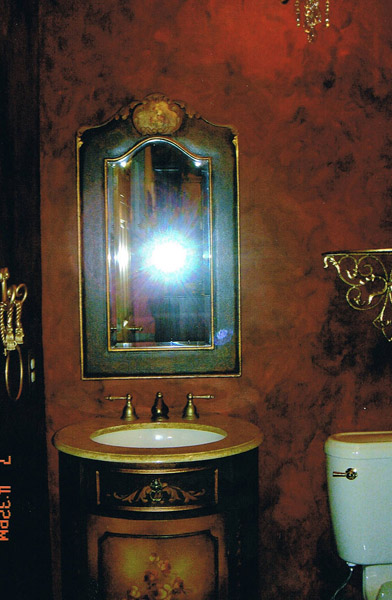 Old world glazed powder room