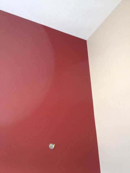 Painted accent wall in family room