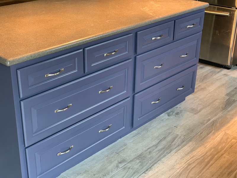 Blue Painting Kitchen Island